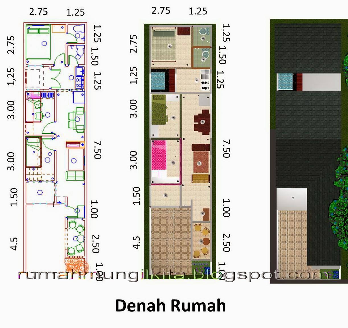 Desain rumah lebar 4 meter dengan 3 kamar tidur - denah