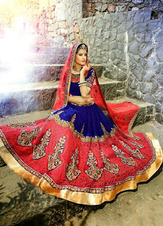 Pure Blue Embroidered Lehenga | Blue And Red Combination Bridal Long Lehenga