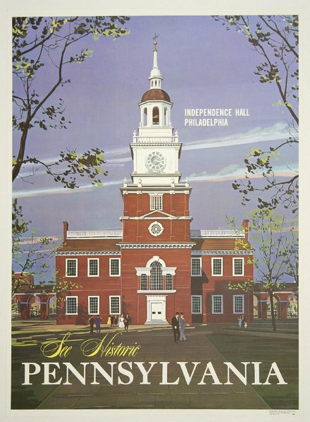 free printable, printable, classic posters, free download, graphic design, retro prints, travel, travel posters, vintage, vintage posters, pennsylvania, See Historic Pennsylvania - Vintage Travel Poster