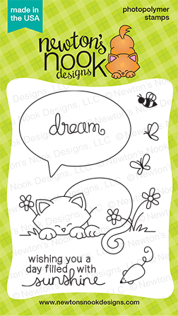 Newton's Daydream Cat stamp set 3x4 | Newton's Nook Designs | July 2014