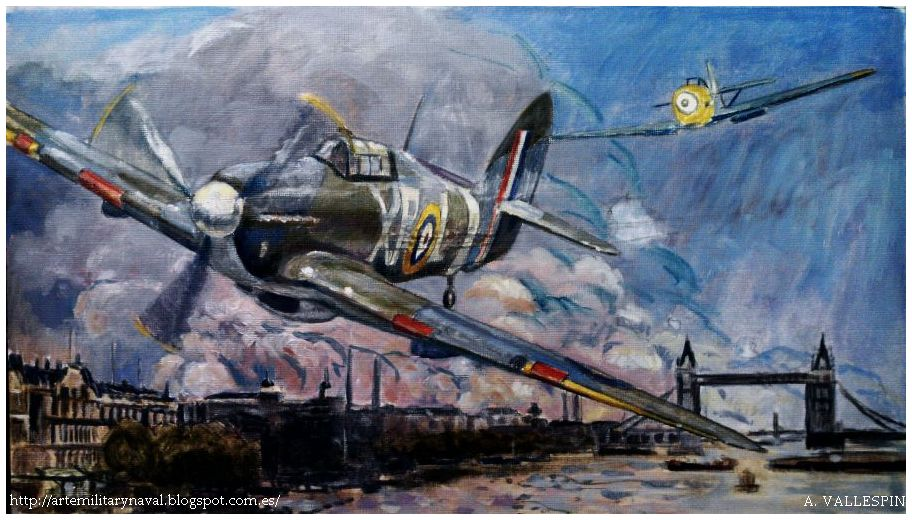 pintura - de hans-Joahim Marseille derriba un Hawker Hurricane Batalla de Inglaterra