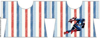 Tarjeta con forma de camiseta de Capitán América.