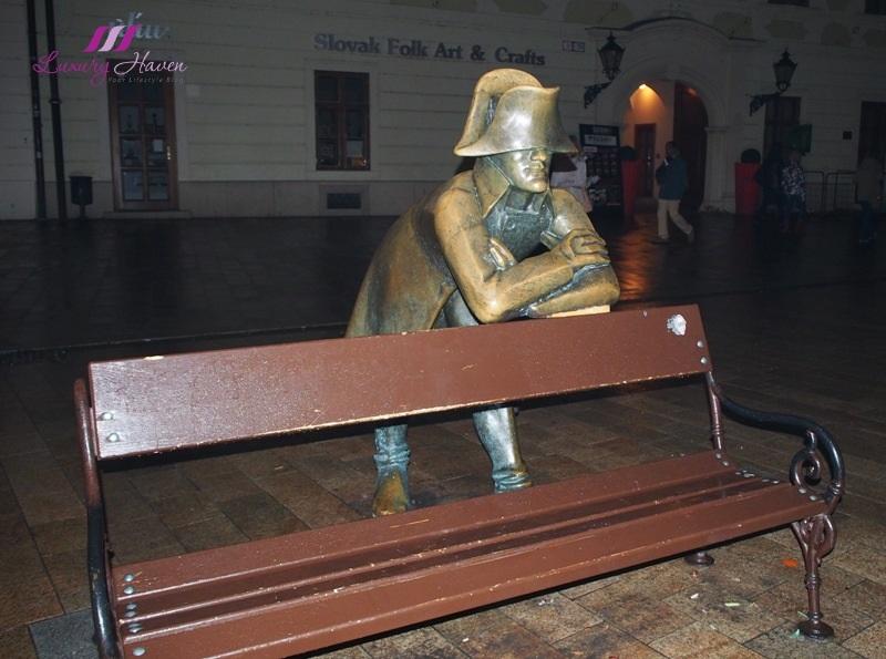 slovakia bratislava main square napoleon soldier sculpture