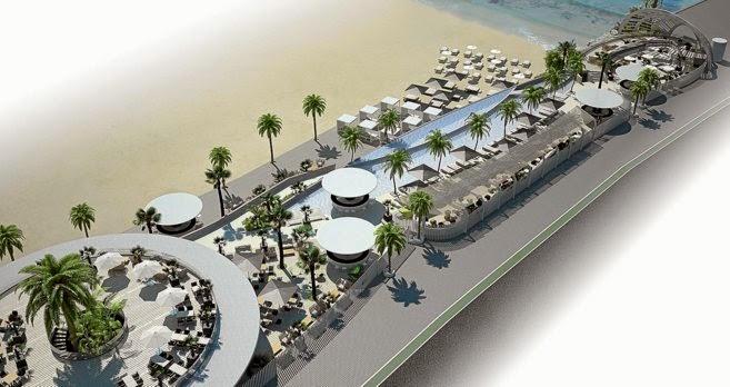 Complejo de ocio Beach Club en la playa Malvarosa de Valencia