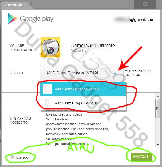 klik install, pilih device yang ingin anda pasangkan dengan aplikasi