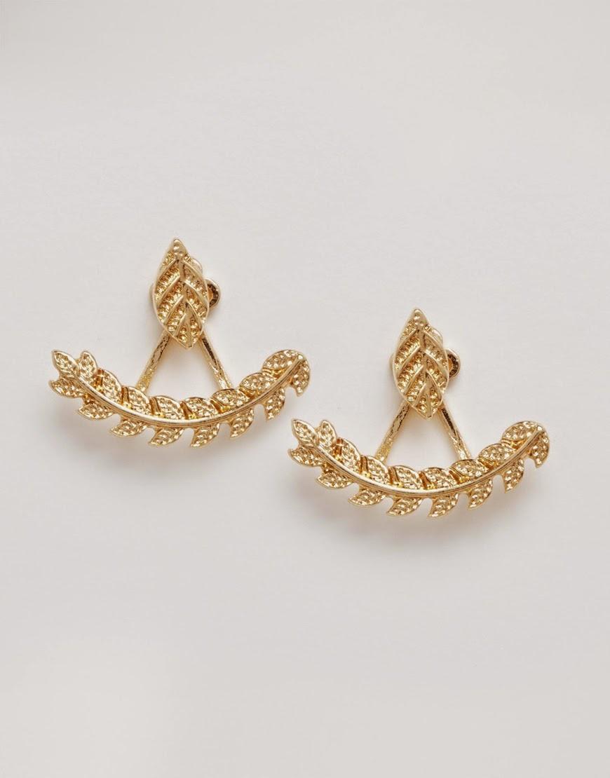 gold leaf earrings, aldo gold leaf earrings,