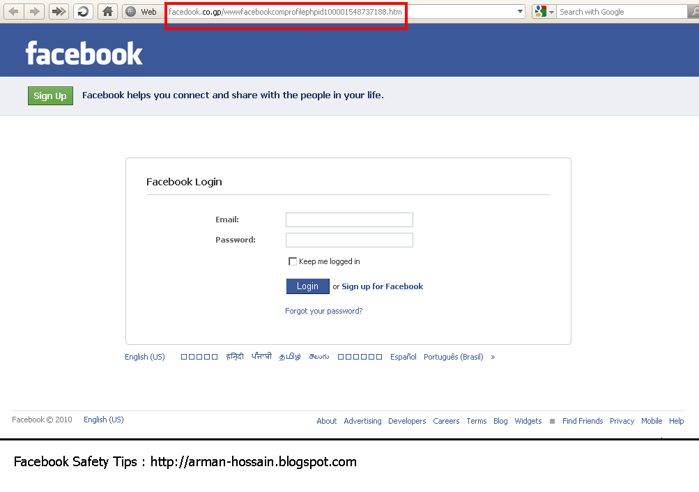 Fake Facebook Login Page.