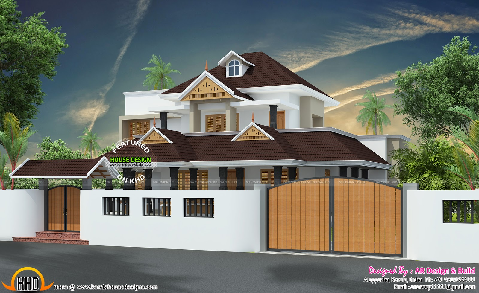 Kerala charupadi home design kerala home design and for Wall gate design homes