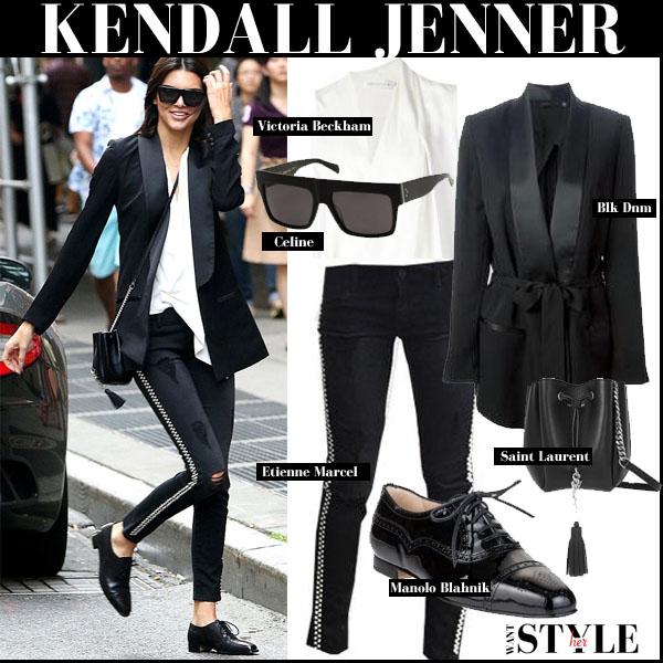 Kendall Jenner in black blk dnm blazer, white top, black skinny etienne marcel studded jeans and black manolo blahnik oxfords street style trend