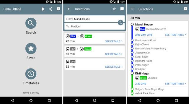 Delhi Public Transport Offline app