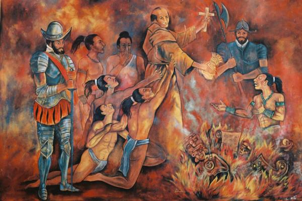 Diego de Landa burning Maya culture