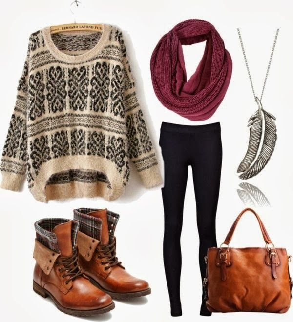 Modern Patterned Sweater with Black Tights, Burgundy Circle Scarf, Silver Necklace, Brown Amazing Boots and Handbag