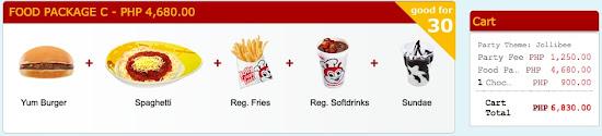 Jollibee Birthday Party Package Price - food package C