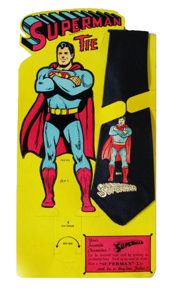 vintage Superman neckties and pop-up display card