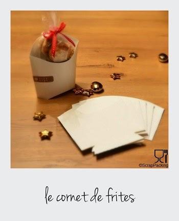 Cornet de frites en carton blanc