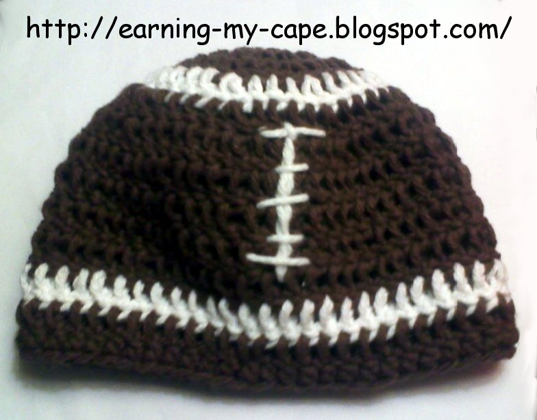 Crochet Pattern Baby Hat Free : Earning-My-Cape: Newborn Football Hat and Booties Set ...