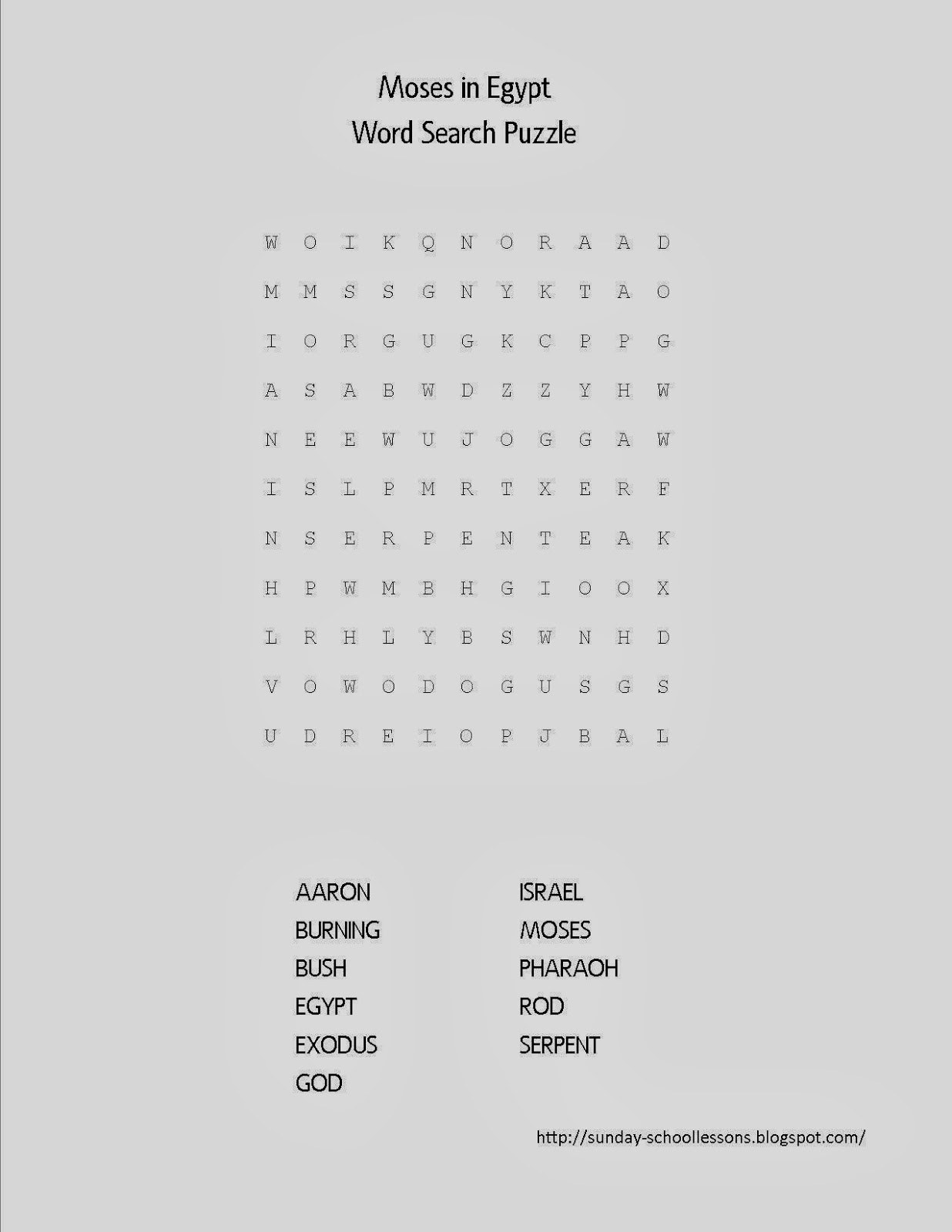 moses in egypt word search puzzle sunday activities