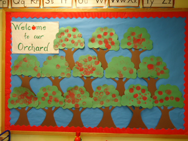 We use the children's art to make our bulletin boards. For this one ...