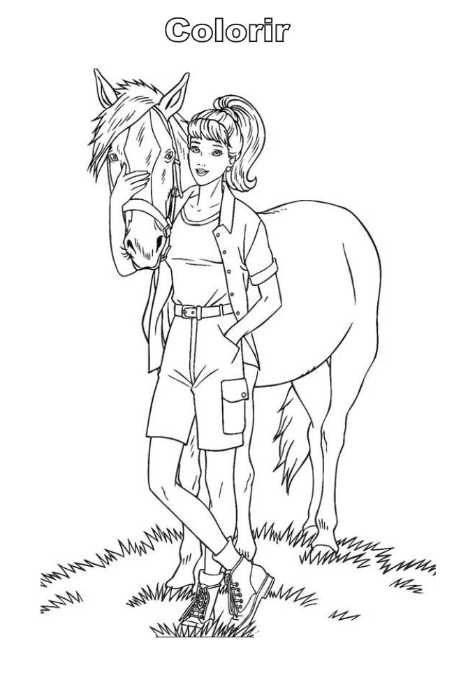 a desenhar with barbie saindo para passear colorir