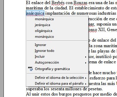 """Captura del corrector ortográfico de Libre Office 3.3 para """"anárquica"""""""