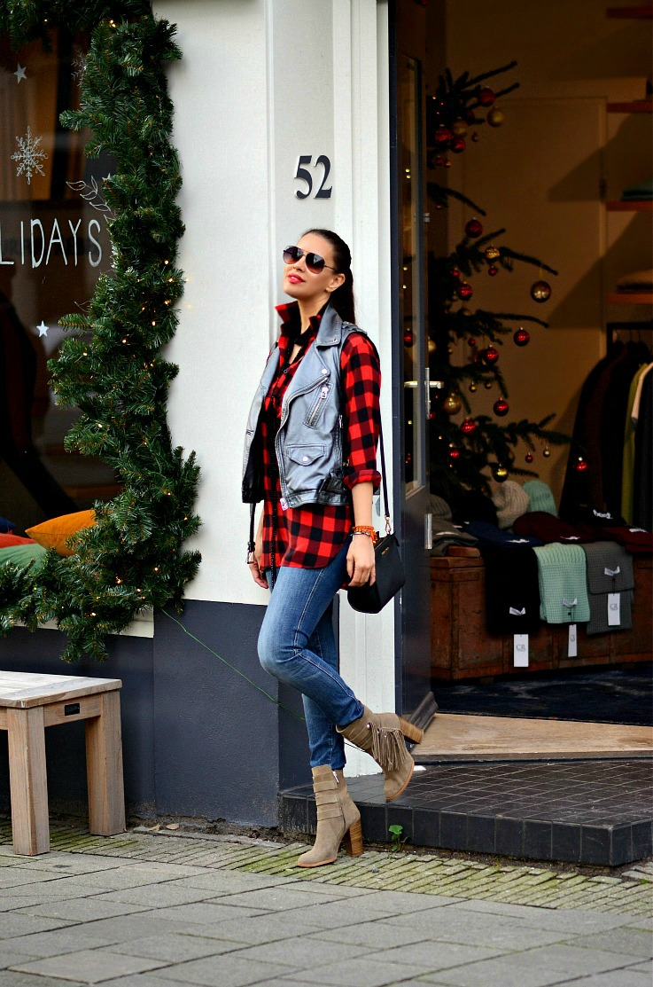Red Plaid shirt, Supertrash Moto jacket, Zara Fringe ankle boots, Tamara Chloé, TC Style Clues, Michael Kors Selma bag, Amsterdam, blogger, Colourful Rebel