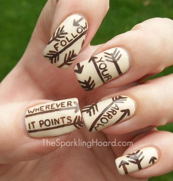 Straight Line Nail Art : The sparkling hoard song mani tips for print lettering