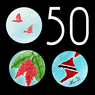 Independence logo of T&T: Steel pan, Chaconia, Scarlet Ibis and map of T&T for 50th Logo