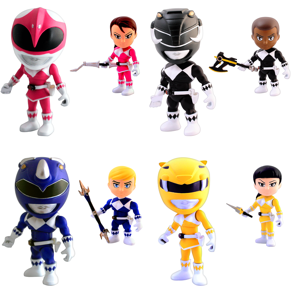 Mighty Morphin Power Rangers Mini Figure Series 1 by The Loyal Subjects - Pink Ranger, Black Ranger, Blue Ranger & Yellow Ranger