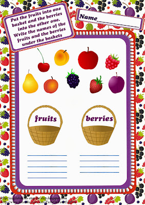 fruits and berries vocabulary worksheet for children