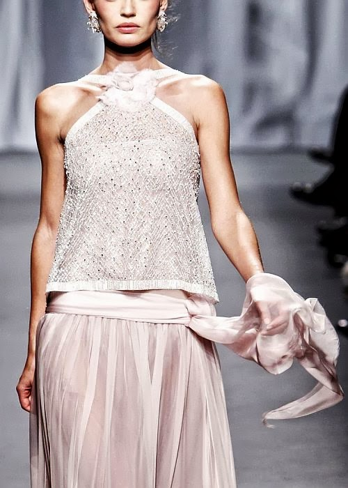 Chanel runway details: pale pink silk skirt and sequin top