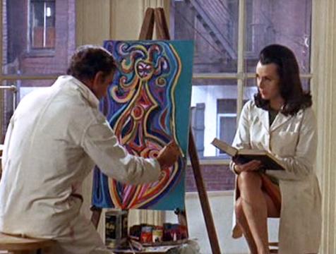 Charly Gordon (Cliff Robertson) pinta mientras Alice Kinnian (Claire Bloom) le alecciona en Charly - Cine de Escritor