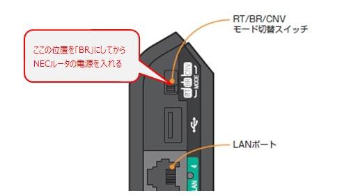 NECルータの動作モード切替スイッチを「BR」位置にする