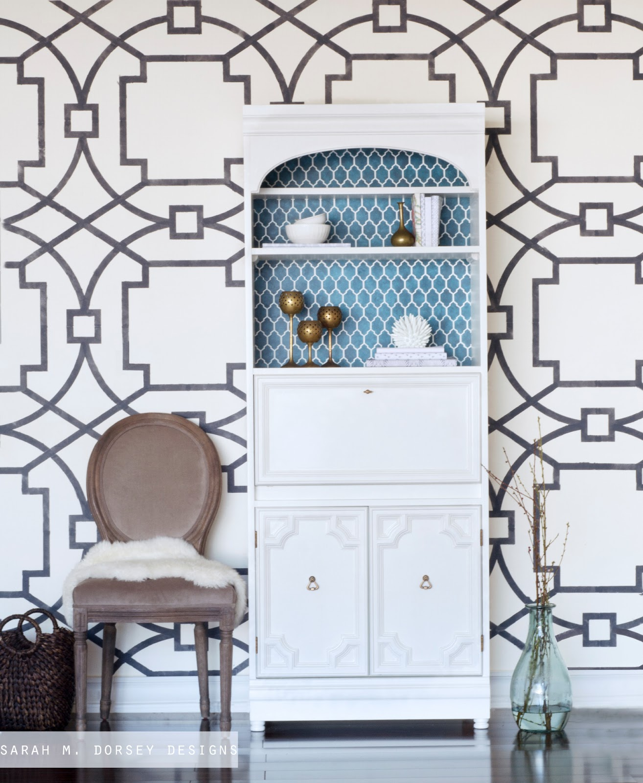 Painted secretary desk and accent wall for Geometric accent wall