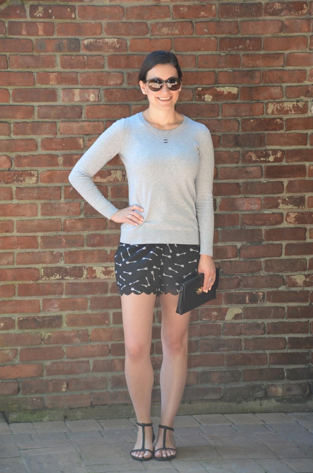 gray sweater + arrow shorts