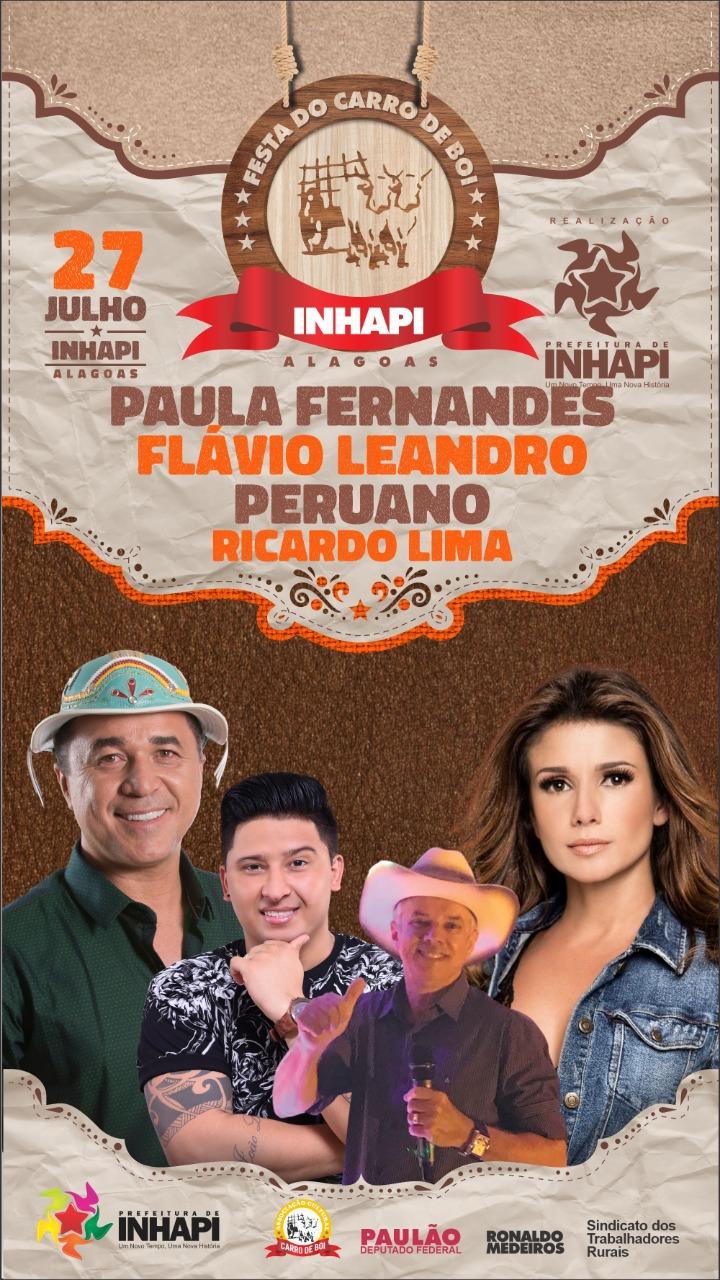 Prefeitura de Inhapi divulga programação oficial da festa do Carro de Boi 2019