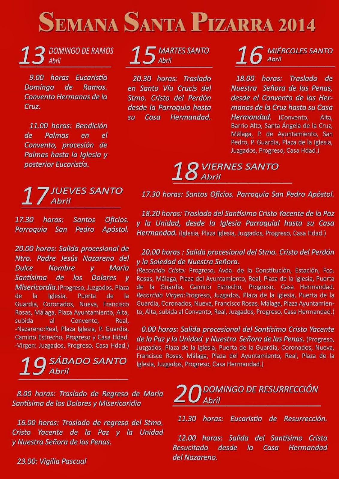 Horarios e itinerarios semana santa pizarra m laga 2014 for Horario oficina correos malaga