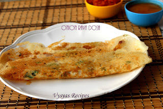 Instant Onion Rava Dosa Recipe - Crispy Onion Rave Dose