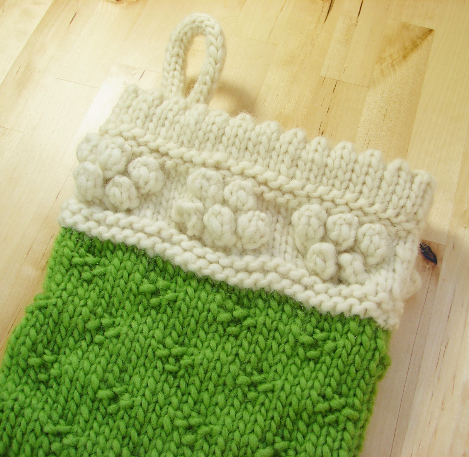 classic christmas stocking knit wool chunky cream white green