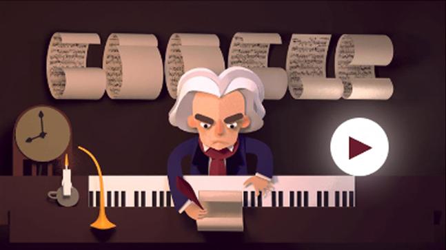Google Doodle Merayakan Ulang Tahun Beethoven ke-245