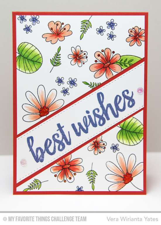 Best Wishes Card by Vera Wirianta Yates featuring the Brushstroke BIrthday and Blissful Blooms stamp sets #mftstamps