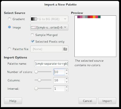 Fig. 5 - Janela de dialogo das funçoes de importação de paleta cores. Neste caso usei a imagem final para importar e criar uma nova paleta de cores no Gimp.