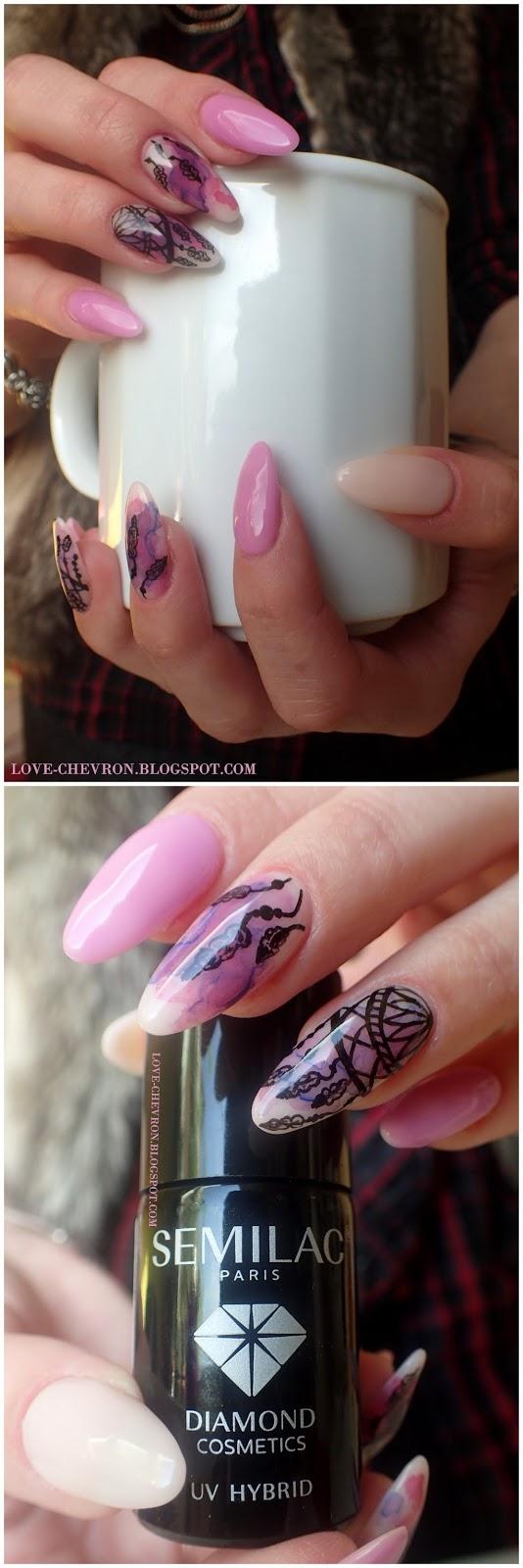 manicure hybrydowy semilac zdobienie