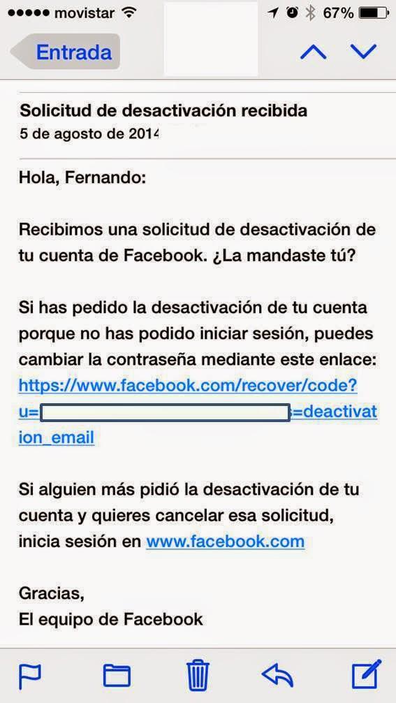 Email Recuperacion Contraseña Facebook