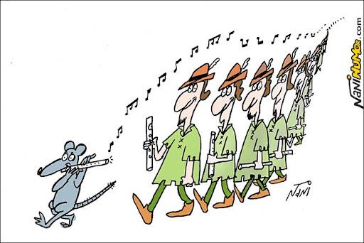 Liderança: No Brasil, os flautistas seguem o rato de Hamellin. O Flautista de Hamelin