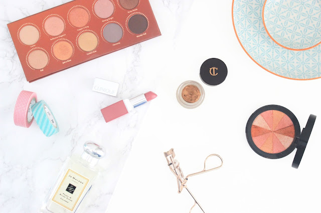 Zoeva Rose Golden Palette, Soap and Glory Peach Party, Jo Malone Peony and Blush Suede, Charlotte Tilbury Eyes to mesmerise Bette, Clinique Pop Lip Colour