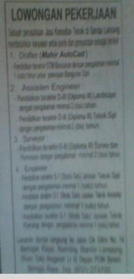 Lowongan Drafter Perusahaan Jasa Konsultan Teknik di Bandar Lampung