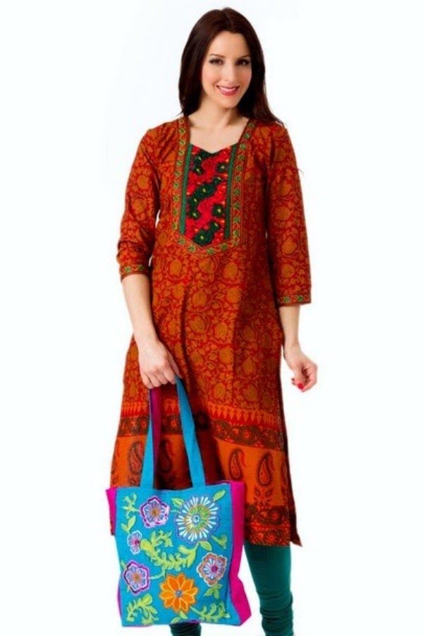 Latest Kurti Collection 2014 for Eid | Long Kurti with Jeans for Eid | News Fashion Styles