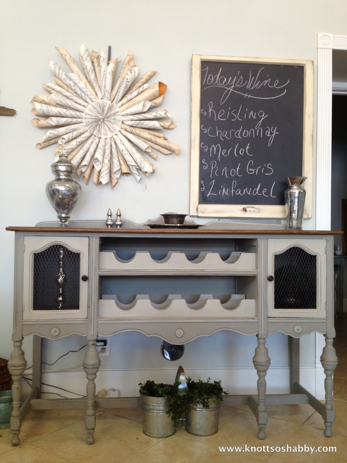 Bliss blossom repurposing an antique buffet for Old wine rack
