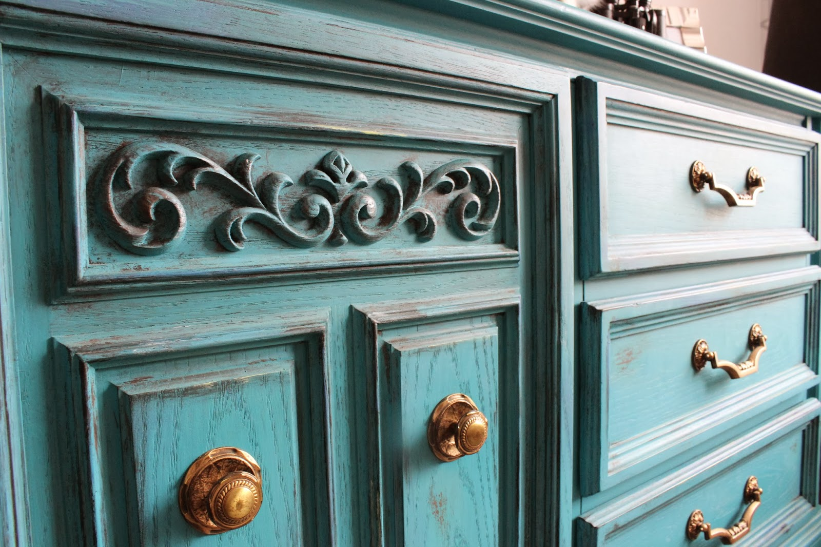 Re Tiqued By Rae Bond Turquoise Blue Dresser With Gold