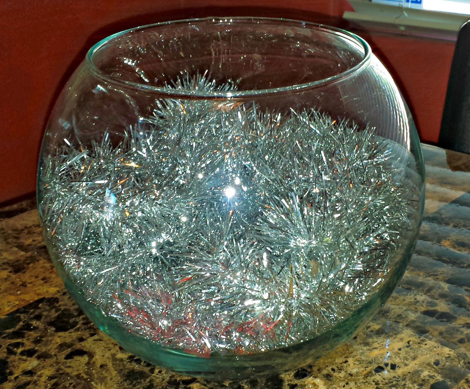 Diy silver gold christmas fish bowl centerpiece on a for Target fish bowl
